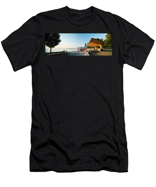 Chicago Lakefront Panorama Men's T-Shirt (Slim Fit) by Steve Gadomski