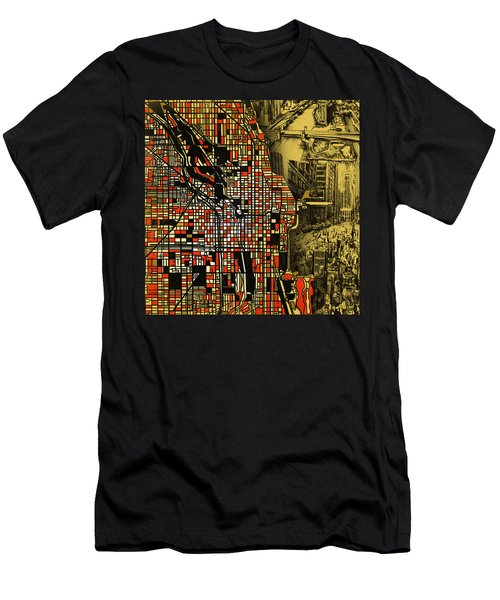 Chicago Map Drawing Collage 2 Men's T-Shirt (Athletic Fit)