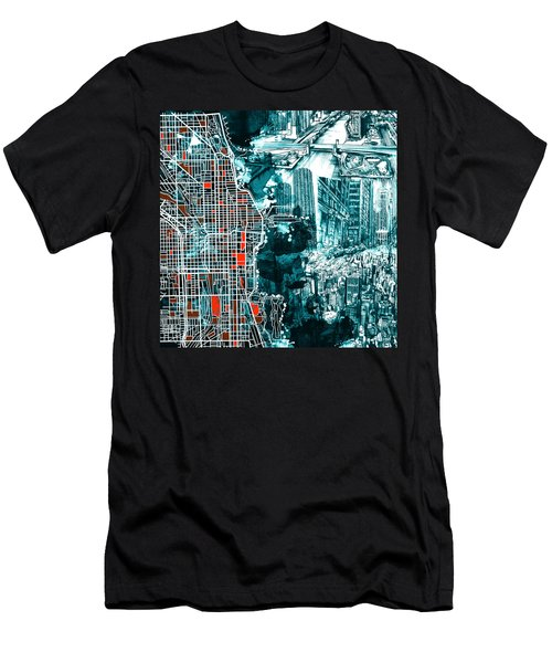 Chicago Map Drawing Collage Men's T-Shirt (Athletic Fit)