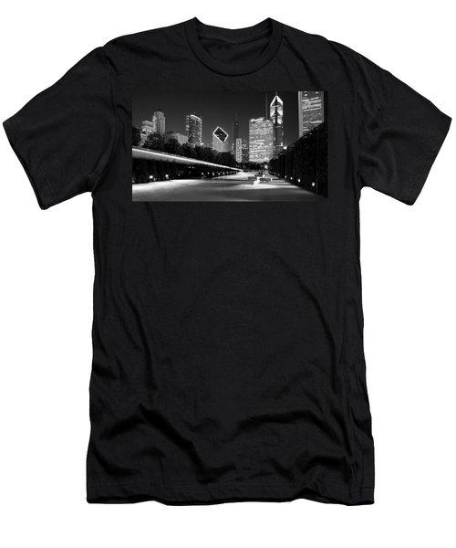 Chicago Night Skyline Black White Men's T-Shirt (Athletic Fit)