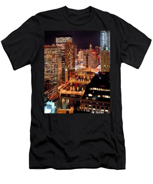 Chicago River At Night Men's T-Shirt (Athletic Fit)