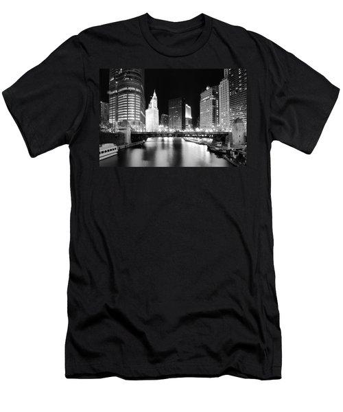 Chicago River Bridge Skyline Black White Men's T-Shirt (Athletic Fit)