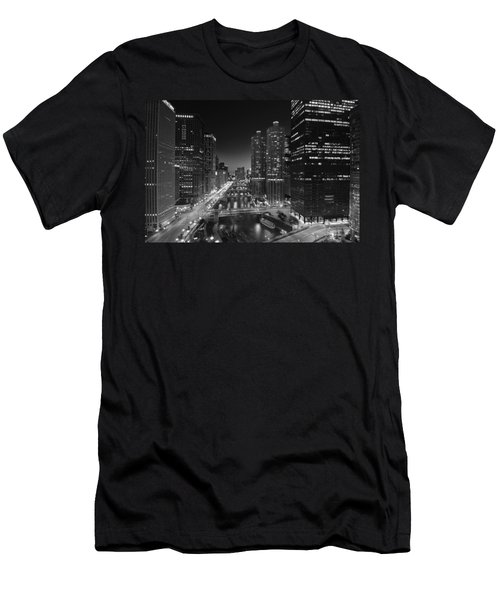 Chicago River Lights B W Men's T-Shirt (Athletic Fit)