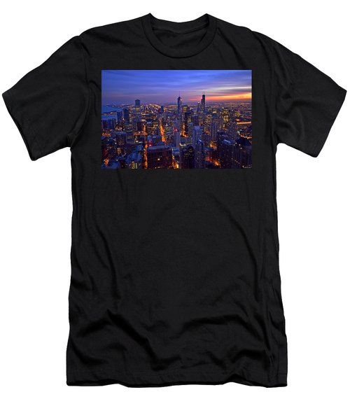 Chicago Skyline At Dusk From John Hancock Signature Lounge Men's T-Shirt (Slim Fit) by Jeff at JSJ Photography