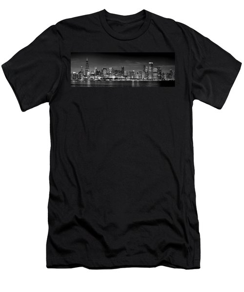 Chicago Skyline At Night Black And White Men's T-Shirt (Slim Fit) by Jon Holiday