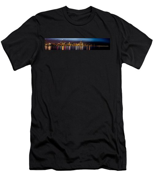 Chicago Skyline At Night Panoramic Men's T-Shirt (Athletic Fit)