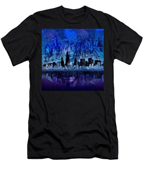 Chicago Skyline Blue Version Men's T-Shirt (Athletic Fit)