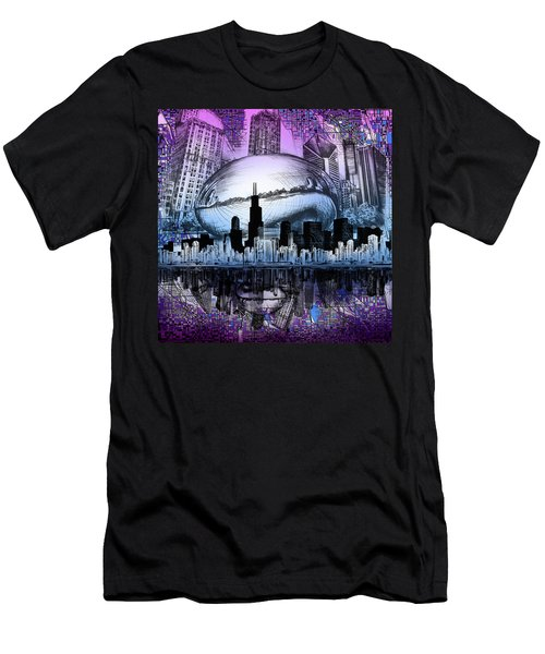Chicago Skyline Drawing Collage 2 Men's T-Shirt (Athletic Fit)