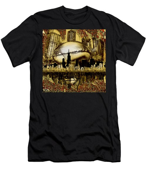 Chicago Skyline Drawing Collage 3 Men's T-Shirt (Athletic Fit)
