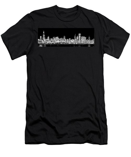 Chicago Skyline Fractal Black And White Men's T-Shirt (Slim Fit) by Adam Romanowicz