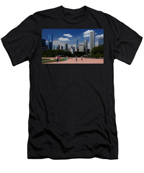 Chicago Skyline Grant Park Men's T-Shirt (Athletic Fit)