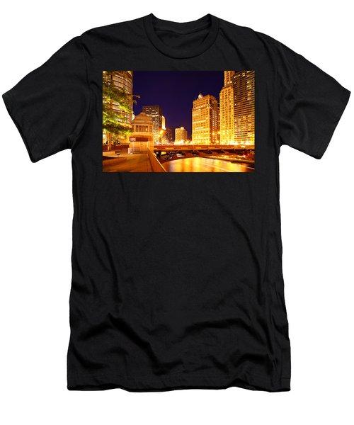Chicago Skyline River Bridge Night Men's T-Shirt (Athletic Fit)
