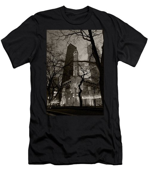Chicago Water Tower B W Men's T-Shirt (Athletic Fit)