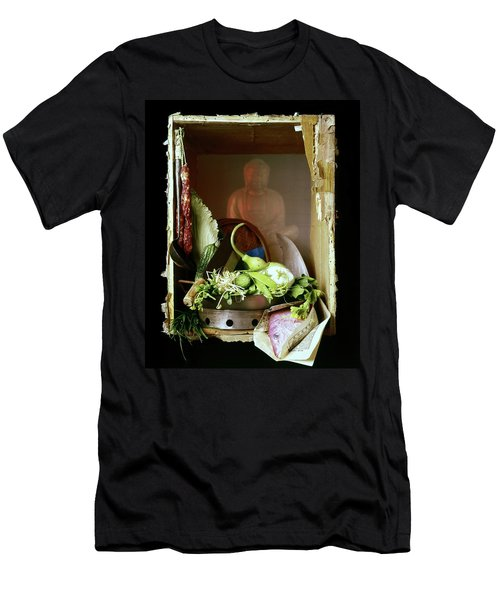 Chinese Statue With Cooking Items Men's T-Shirt (Athletic Fit)