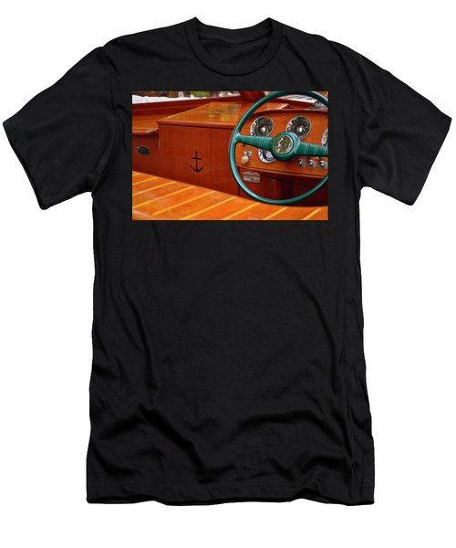 Men's T-Shirt (Athletic Fit) featuring the photograph Chris Craft Cockpit by Michelle Calkins