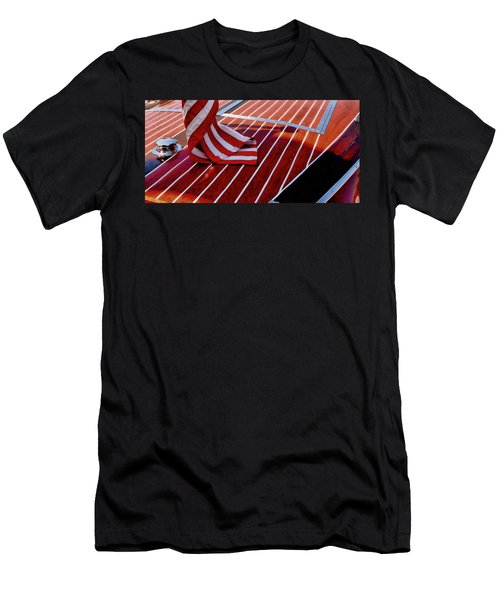 Chris Craft With American Flag Men's T-Shirt (Athletic Fit)