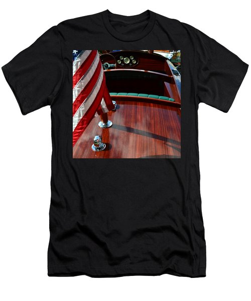 Chris Craft With Flag And Steering Wheel Men's T-Shirt (Athletic Fit)