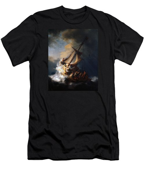 Christ And The Storm Men's T-Shirt (Athletic Fit)