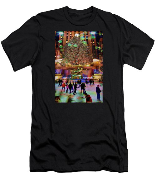 Men's T-Shirt (Slim Fit) featuring the photograph Christmas At The Rock by Chris Lord