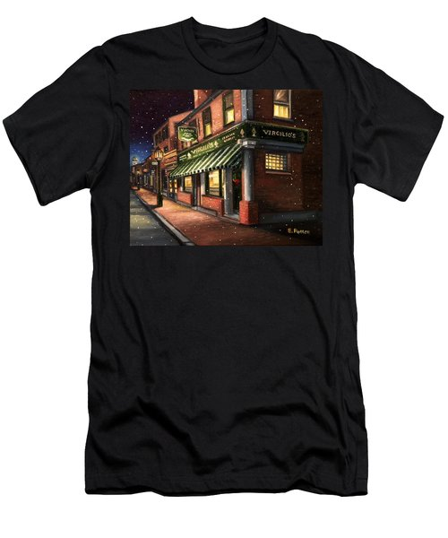 Christmas At Virgilios Men's T-Shirt (Slim Fit) by Eileen Patten Oliver