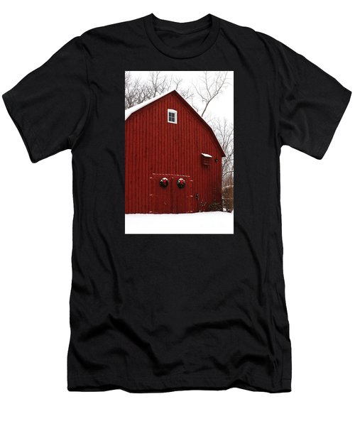 Men's T-Shirt (Athletic Fit) featuring the photograph Christmas Barn 6 by Linda Shafer