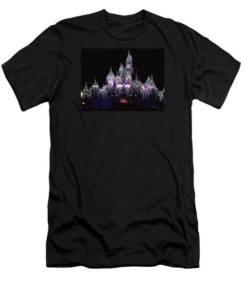 Christmas Castle Night Men's T-Shirt (Slim Fit) by Nadalyn Larsen