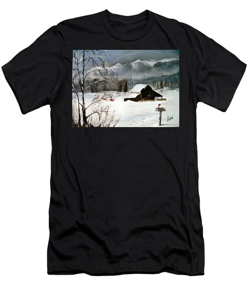 Christmas Farm House Men's T-Shirt (Athletic Fit)