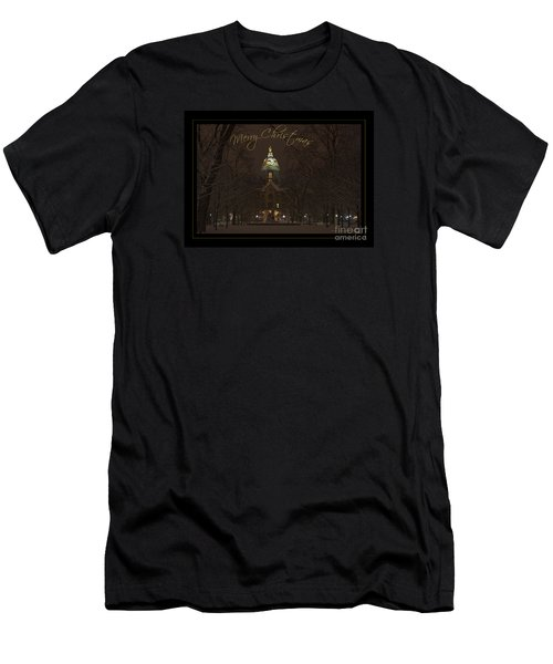 Christmas Greeting Card Notre Dame Golden Dome In Night Sky And Snow Men's T-Shirt (Slim Fit) by John Stephens