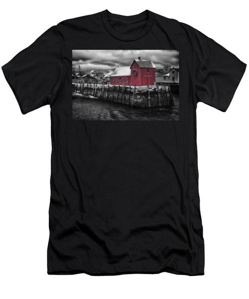 Christmas In Rockport New England Men's T-Shirt (Slim Fit) by Jeff Folger