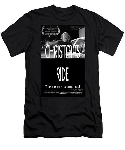 Christmas Ride Poster B And W Men's T-Shirt (Athletic Fit)