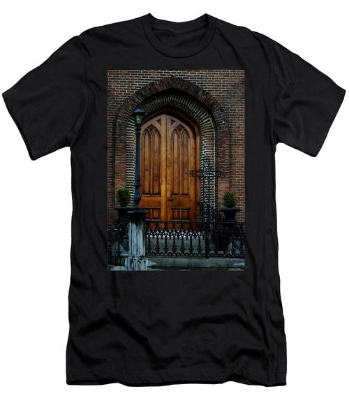 Church Arch And Wooden Door Architecture Men's T-Shirt (Slim Fit) by Lesa Fine