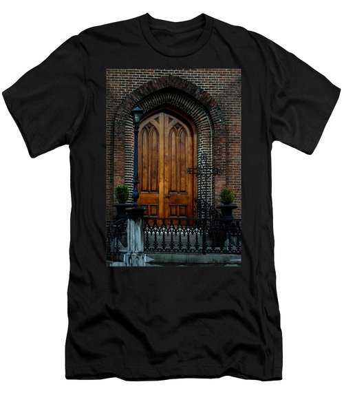 Church Arch And Wooden Door Architecture Men's T-Shirt (Athletic Fit)