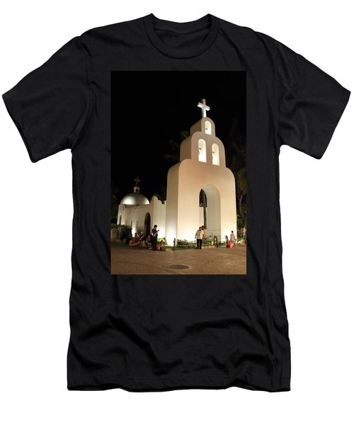 Church At Night In Playa Del Carmen Men's T-Shirt (Athletic Fit)