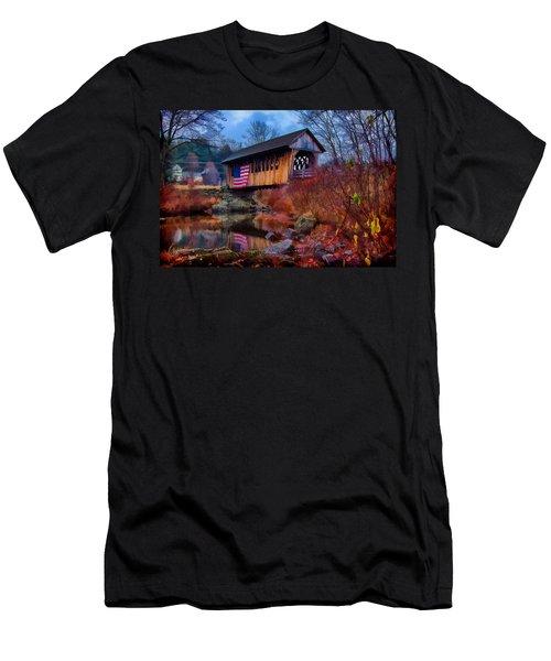Cilleyville Covered Bridge Men's T-Shirt (Slim Fit) by Jeff Folger