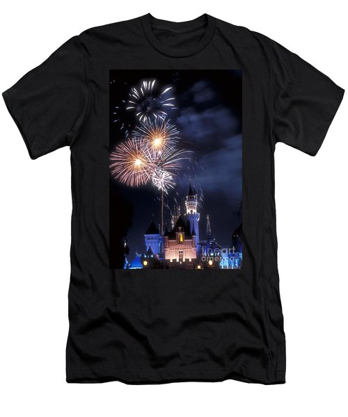 Cinderella Castle Fireworks Iconic Fairy-tale Fortress Fantasyland Men's T-Shirt (Slim Fit) by David Zanzinger