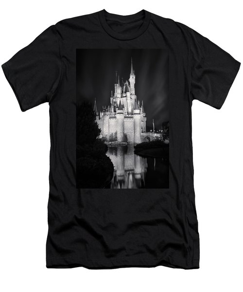 Cinderella's Castle Reflection Black And White Men's T-Shirt (Athletic Fit)