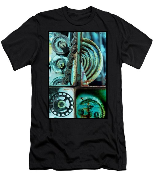 Circle Collage In Blue Men's T-Shirt (Slim Fit) by Fran Riley