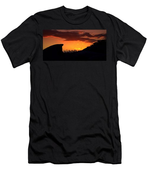 Men's T-Shirt (Slim Fit) featuring the photograph City In A Palm Of Rock by Miroslava Jurcik