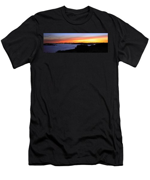 Men's T-Shirt (Slim Fit) featuring the photograph City Lights In The Sunset by Miroslava Jurcik