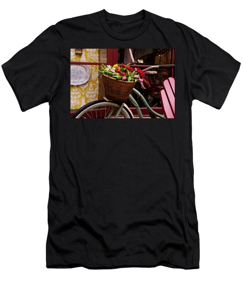 Classic Bike With Tulips Men's T-Shirt (Athletic Fit)