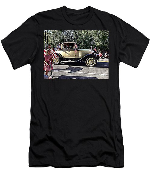 Men's T-Shirt (Slim Fit) featuring the photograph Classic Children's Parade Classic Car East Millcreek Utah 1 by Richard W Linford