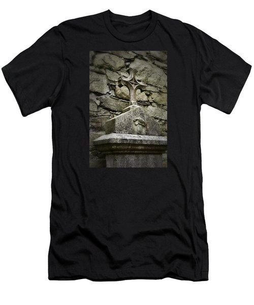 Cloister Cross At Jerpoint Abbey Men's T-Shirt (Slim Fit) by Nadalyn Larsen
