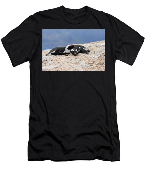 Men's T-Shirt (Athletic Fit) featuring the photograph Close Bonds, African Penguin by Aidan Moran