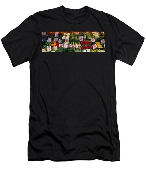 Close-up Of Pike Place Market, Seattle Men's T-Shirt (Slim Fit) by Panoramic Images