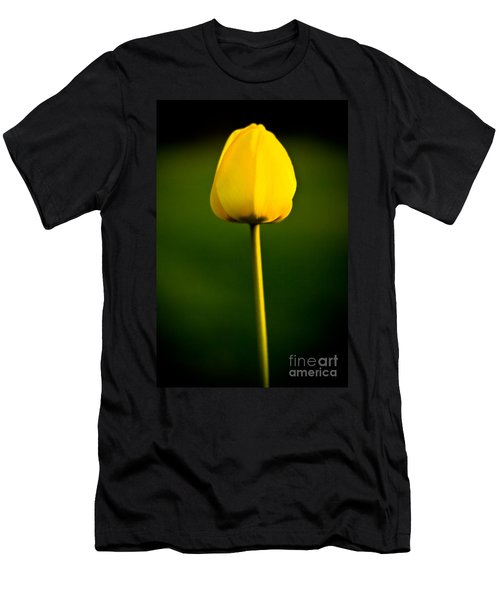 Men's T-Shirt (Athletic Fit) featuring the photograph Closed Yellow Flower by John Wadleigh