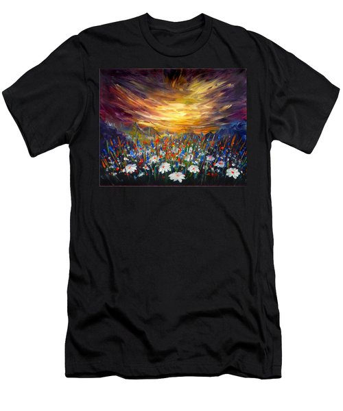 Men's T-Shirt (Slim Fit) featuring the painting Cloudy Sunset In Valley by Lilia D