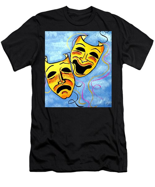 Men's T-Shirt (Slim Fit) featuring the painting Comedy And Tragedy by Nora Shepley