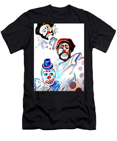 Men's T-Shirt (Slim Fit) featuring the painting Clowns In Heaven by Nora Shepley