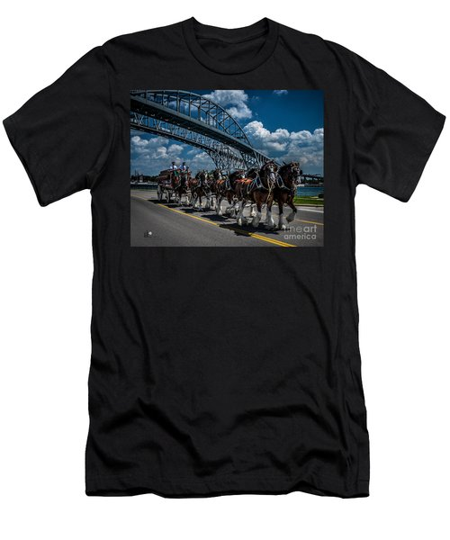 Clydesdales And Blue Water Bridges Men's T-Shirt (Athletic Fit)