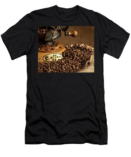 Men's T-Shirt (Athletic Fit) featuring the photograph Coffee Grinder With Beans by Gunter Nezhoda